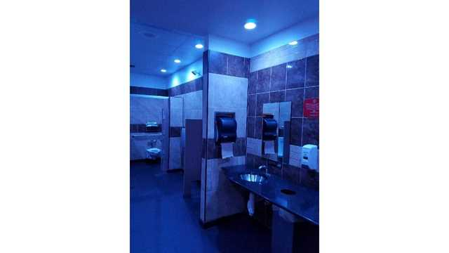 Gas station owner installs blue lighting in restroom to combat drug use