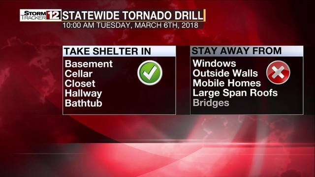 Statewide tornado drill scheduled for Tuesday morning